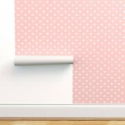 Peel-and-stick Removable Wallpaper Hearts Cute Polka Dots Hears Pink Nursery