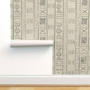 Peel-and-stick Removable Wallpaper Mud Cloth Ethnic Modern Native Line Autumn