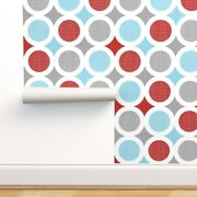 Peel-and-stick Removable Wallpaper Blue And Red Polka Dots Mod Modern