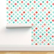 Peel-and-stick Removable Wallpaper Watercolor Polka Dots In Blue And Pinks Dot