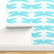 Peel-and-stick Removable Wallpaper Blue Dragonflies Entomology Bugs Insects Baby