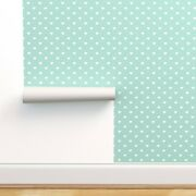 Peel-and-stick Removable Wallpaper Hearts Cute Heart Polka Dots Mint White