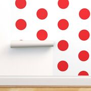 Peel-and-stick Removable Wallpaper Red Dots White Polka Modern Dot Circle Giant