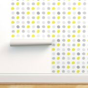 Peel-and-stick Removable Wallpaper Accent Pop Color Polka Dots Yellow White Mid