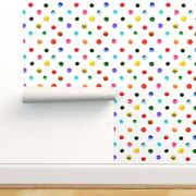 Peel-and-stick Removable Wallpaper Polka Dots Pink Yellow Blue Modern Home Pen