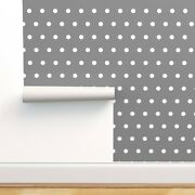 Peel-and-stick Removable Wallpaper White And Grey Polka Dot Julies Retro Dots