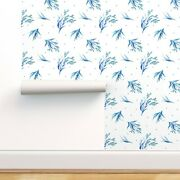 Peel-and-stick Removable Wallpaper Watercolor Floral Flowers Polka Dots Blue