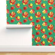 Peel-and-stick Removable Wallpaper Roses On Polka Dots Retro Floral Fifties