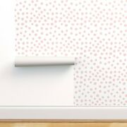 Peel-and-stick Removable Wallpaper Polka Dots Nursery Painted Pastel Pink Baby