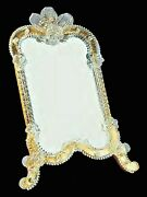 Mirror Venetian Glass Of Murano With Gold Table Handmade In Italy