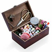 Wooden Sewing Kit, Sewing Boxes Organizer With Accessories Retro Wooden Box