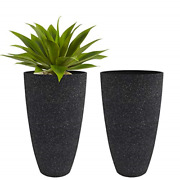 Tall Planters Outdoor Indoor - Specked Black Flower Plant Pots, 20 Inch Set Of 2