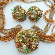 Vintage Demario Fall Colors Necklace And Earrings Jewelry Set