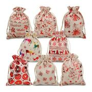 30x16pcs Christmas Dst Gift Bags Burlap Gift Pouch Goody Bags For Candy Wrapper