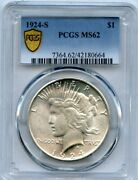 1924-s 1 Peace Silver Dollar Coin Pcgs Ms 62