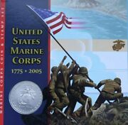 2005 Marine Corps Uncirculated Us Silver Dollar Coin And Iwo Jima Stamp Set