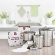 Farmhouse Kitchen Decor Silver Canister Set 4 Country Hammered Steel Storage New