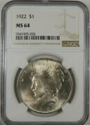 1922 Ngc Ms 64 Silver Peace Dollar [026]