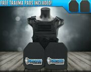 Ar500 Level 3 Iii Body Armor Plates- 10x12 With Molle Vest W/ Triple Mag Pouch