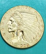 1928 2.5 Two And A Half Dollar Gold Indian Head Quarter Eagle Coin
