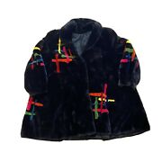 Vintage Dasco New Yorker Abstract Print Black Fur Coat Womenand039s M 50and039s