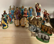 Italian Nativity Set Christmas Hand Painted 18 Figures Made In Italy Vintage