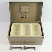 Vintage Sws Beige Metal Cash Storage Money Box With Key And Coin Tray Australia