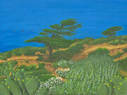 L.j. Oakes 18 X 24 Original Acrylic Painting - Torrey Pines Pelican Fly-by