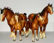 Vintage Breyer Horses Clydesdale Mare, Stallion And 2 Foals 80, 83 And 84 Matte