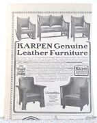 Antique 1900and039s Mission Karpen Leather Furniture 1904 Print Ad Chair Art Poster