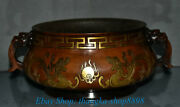 9 Marked China Red Copper Gold Dragon Beast Handle Incense Burners Censer