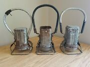 Vintage Justrite Twin Bulb Electric Lantern Lot Of 3 Train Mining Light As Is