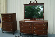 00001 Antique Mahogany High Chest And Dresser With Mirror