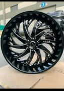 28 Inch Black And Milled Artis Decatur Wheels Rims 6x139.7 6x5.5 24 28