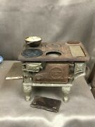 Antique Pet Cast Iron Toy Stove With Footed Cooking Pot
