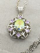 Sterling Silver 18andrdquo Yellow And Pink Crystal Necklace 4.3g 12-23