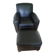 Club Sofa Chair Of Black Leather With Ottoman From Ethan Allen