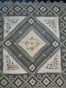 Antique Handmade Lace And Silk Embroidery Centerpiece