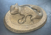 Rare Early 1890-1905 Sherwin Williams Lizard Cast Iron Advertising Paperweight