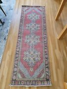 Vintage Turkish Oushak Runner Rughandwoven Wool Antique Rug Runner 2and0399x9and0391 Ft