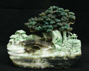 10 China Natural Dushan Jade Hand Carved Tree Old Man Boat River House Statue