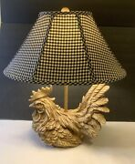 Chicken Hen Rooster Country Style Large Table Lamp Wood Like Resin Plaid Shade