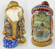 Hand Carved Russian Jeweled Masterpiece Santaclaus Father Frost Ded Moroz Signed