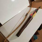 Vintage Indian Recurve Long Bow Ia 24 Amo 55 20lb By Indian W/ Arrows And Quiver