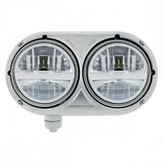 Stainless Dual Silver Headlight With 8 High Power Led Bulb Pete 359-passenger