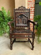 Antique French Carved Oak Arm Fireside Throne Chair Breton Brittany