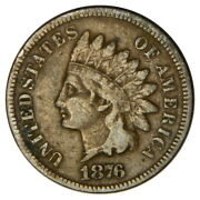 1876 Indian Head 1 Cent Penny F Fine Priced Right Inv4