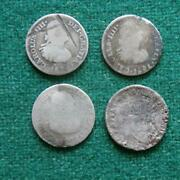 1800s Mexico Silver 4 Coins 1/2 Real Bust Caps And Rays Mo