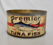 Premier Tuna Fish Brand Red Salmon Vintage Antique Tin Seafood Can - 83764