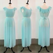 Vintage Vanity Fair Micro Pleated Nylon Nightgown In Baby Blue, Size 36
